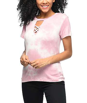 Lunachix Luca Lace Up Light Pink Tie Dye Choker Top