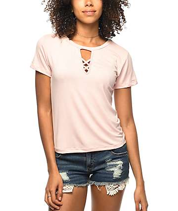 Lunachix Luca Mock Neck & Lace Up Pink T-Shirt