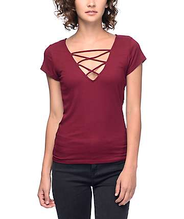 Lunachix Mav Lattice Front Ribbed Burgundy T-Shirt