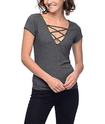 Lunachix Mav Lattice Front Ribbed Charcoal T-Shirt
