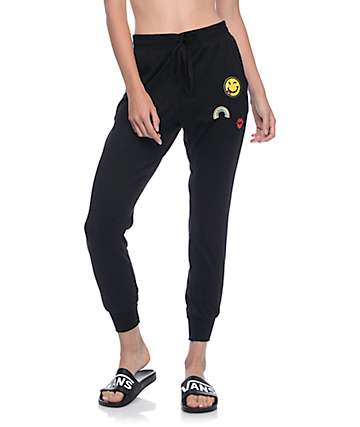 Lunachix Mel Patch Black Brushed Jogger Pants