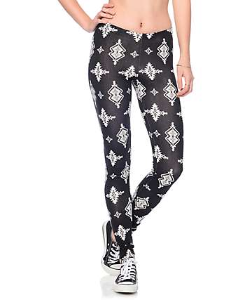 Lunachix Mia Black & Cream Spaced Tribal Leggings