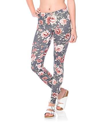 Lunachix Mia Heather Grey, Pink & Burgundy Floral Leggings