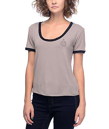 Lunachix Middle Finger Taupe & Black Scoop Neck Ringer T-Shirt