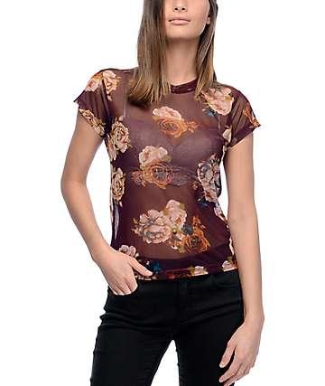 Lunachix Mona Floral Burgundy Mesh Top