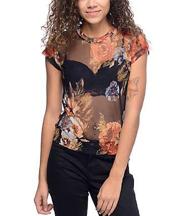 Lunachix Mona Mesh Black Floral Top