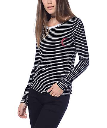 Lunachix Moon Black & White Stripe Ringer Long Sleeve T-Shirt