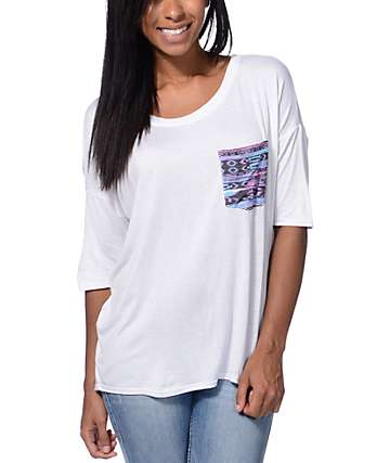 Lunachix Neon Tribal Print White Pocket T-Shirt