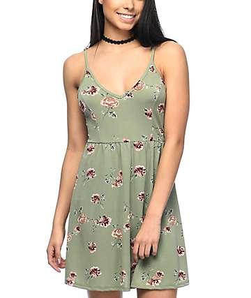 Lunachix Nia vestido floral en verde olivo