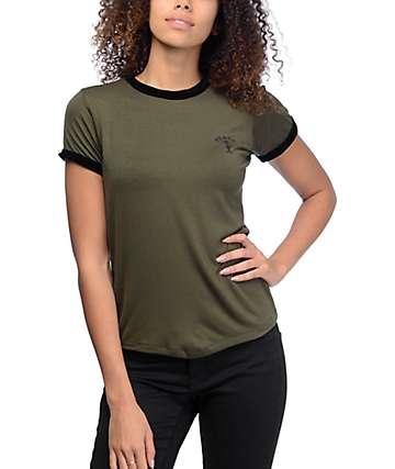 Lunachix Peace Alien Olive & Black Velvet Ringer T-Shirt