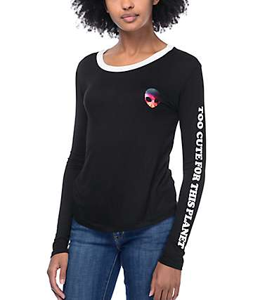 Lunachix Rainbow Alien Too Cute Black Long Sleeve Ringer T-Shirt