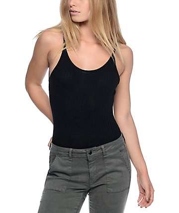 Lunachix Ribbed Black Tank Bodysuit