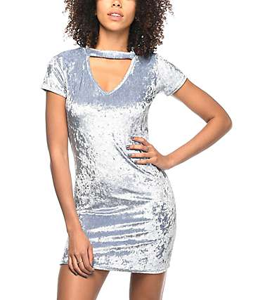 Lunachix Sarrie Blue Crushed Velvet Choker Dress