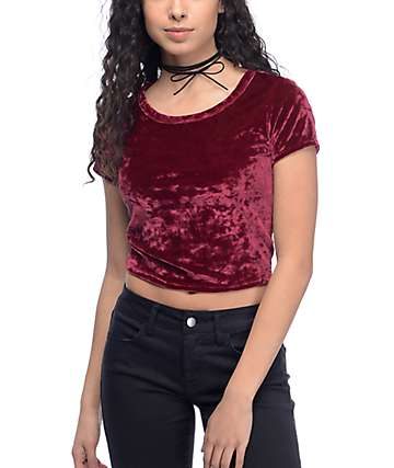 Lunachix Sasha Crushed Velvet Burgundy Crop Top