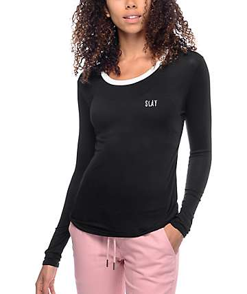 Lunachix Slay Embroidered Black Long Sleeve Ringer T-Shirt
