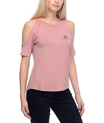 Lunachix Stassi Coldshoulder Rose Mauve Shirt