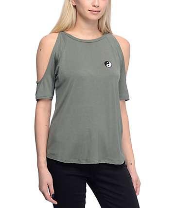 Lunachix Stassi Coldshoulder Yin Yang Green Shirt