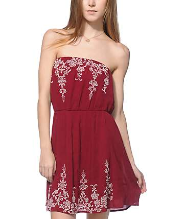 Lunachix Stevie Burgundy and Cream Print Tube Dress