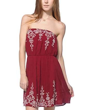 Lunachix Stevie Burgundy and Cream Print Tube Dress