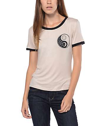 Lunachix Sun Moon Yin Yang Taupe Ringer T-Shirt