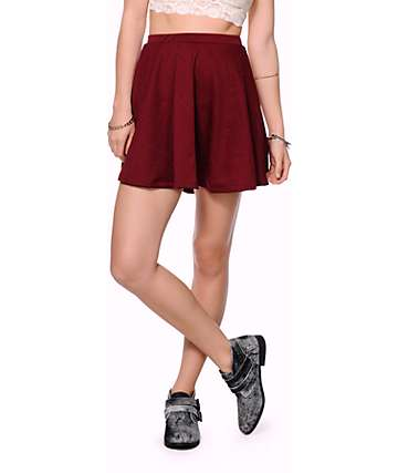 Lunachix Textured Blackberry Skater Skirt
