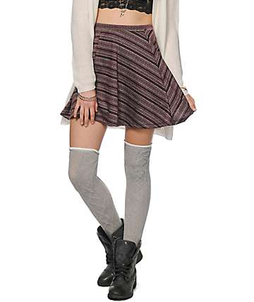Lunachix Textured Blackberry Tribal Skater Skirt