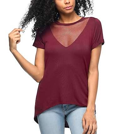 Lunachix Tomi camiseta de malla con cuello en V en color vino