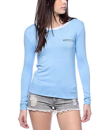 Lunachix Whatever Baby Blue Long Sleeve Ringer T-Shirt