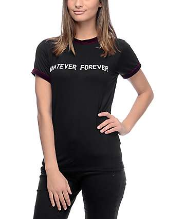 Lunachix Whatever Forever Black Velvet Trim T-Shirt