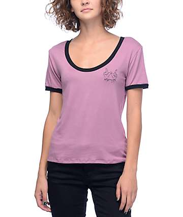 Lunachix Whatever Mauve & Black Scoop Neck Ringer T-Shirt
