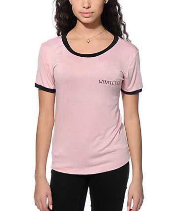 Lunachix Whatever Pink Ringer T-Shirt