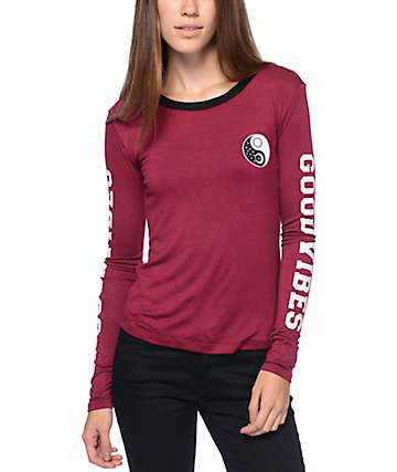 Lunachix Yin Yang Vibes Burgundy Long Sleeve Shirt