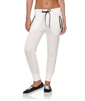 Lunachix Zipper White Jogger Pants