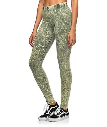 Lunachix leggings con lavado cristal en verde olivo