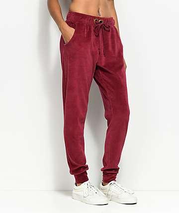 Lunachix pantalones joggers de terciopelo en color vino