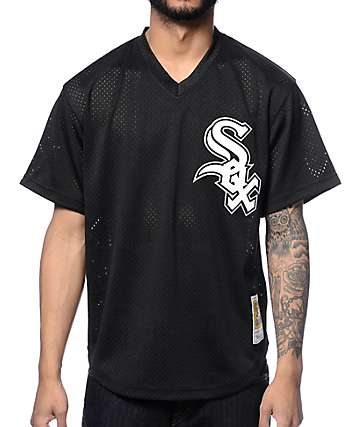 MLB Mitchell and Ness Bo Jackson White Sox Black Mesh Jersey