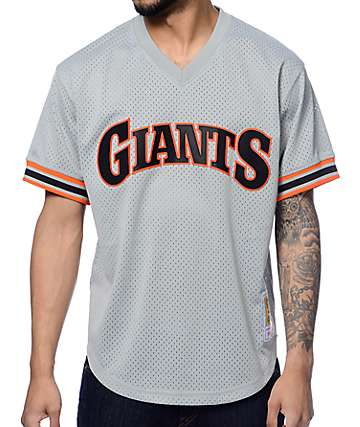 MLB Mitchell and Ness Clark San Francisco Giants Grey Mesh Jersey