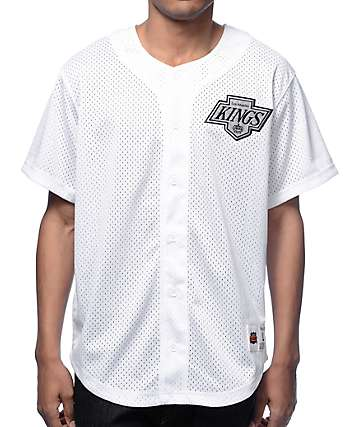 MLB Mitchell and Ness LA Kings White Mesh Button Down Jersey