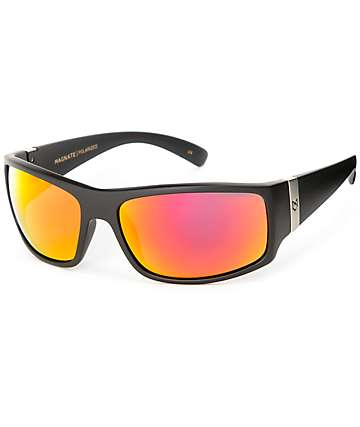 Madson Magnate Matte Black and Red Chrome Polarized Sunglasses