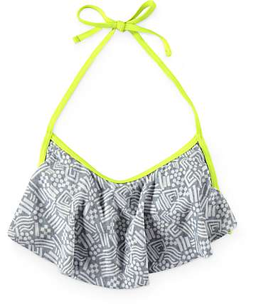 Malibu Confettirama Tribal Flounce Bathing Suit Top