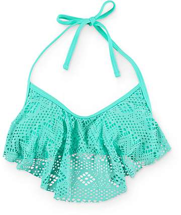 Malibu Island Mermaid Crochet Flounce Bikini Top