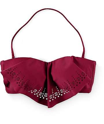 Malibu Laser Love Burgundy Flounce Bikini Top