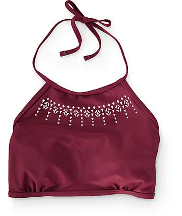 Malibu Laser Love Burgundy High Neck Bikini Top
