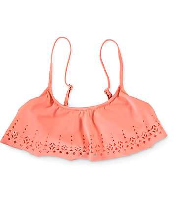 Malibu Laser Love Coral Flounce Bikini Top