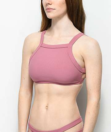Malibu Mauve Ribbed High Neck Bikini Top