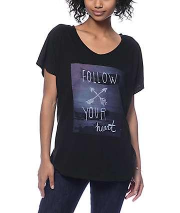 Malibu Native Follow Your Heart Black Scoop T-Shirt