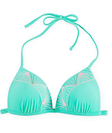 Malibu Setting Sun Mint Embroidered Molded Cup Bikini Top