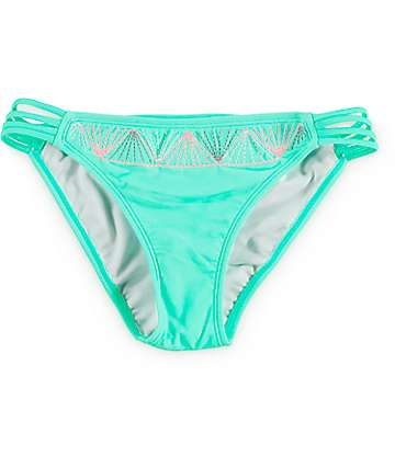 Malibu Setting Sun Mint Embroidered Side Strap Bikini Bottom
