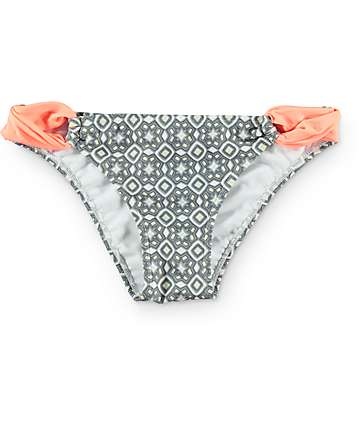 Malibu Soul Searcher Grey & Coral Hipster Bikini Bottom
