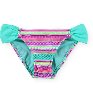 Malibu Stripe Trip Tribal Tab Side Bikini Bottom